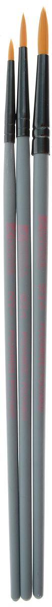Набор кистей LeFranc Louvre, 3 шт. LF806748980041Кисти из набора LeFranc Louvre идеально подойдут для работы с акриловыми красками и прочими искусственными эмульсиями, а также с темперой, гуашью, акварелью и масляными красками. В набор входят кисти Round №2, 6 и 10. Кисти изготовлены из синтетической щетины, имеют длинную ручку. Пластиковые ручки оснащены алюминиевыми втулками с двойным обжимом.Длина кистей: Round №2 - 19,3 см; №6 - 20,1 см; №10 - 20,4 см.Длина ворса: Round №2 - 6 мм, №6 - 1,2 см, №10 - 1,7 см.
