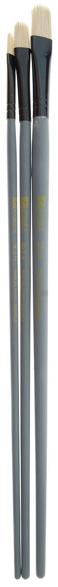 Набор кистей LeFranc Louvre, 3 шт. LF806750711000Кисти из набора LeFranc Louvre идеально подойдут для работы с акриловыми красками и прочими искусственными эмульсиями, а так же с темперой, гуашью, акварелью и масляными красками. В набор входят кисти Filbert № 4, 8 и 12. Кисти изготовлены из щетины. Конусообразная форма пучка позволяет прорисовывать мелкие детали и выполнять заливку фона.Пластиковые ручки оснащены алюминиевыми втулками с двойным обжимом.Длина кистей: Filbert № 4 - 28,5 см; № 8 - 29 см; № 12 - 30 см.Длина ворса: Filbert № 4 - 1,2 см, № 8 - 1,5 см, № 12 - 1,7 см.