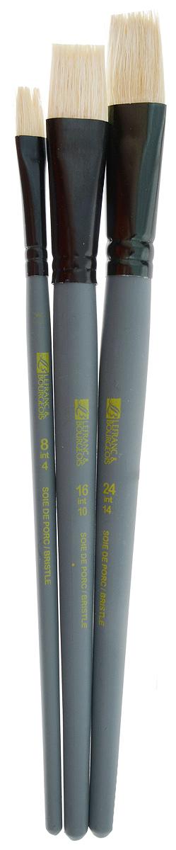 Набор кистей LeFranc Louvre, 3 шт. LF806753C13S041944Кисти из набора LeFranc Louvre идеально подойдут для работы с акриловыми красками и прочими искусственными эмульсиями, а так же с темперой, гуашью, акварелью и масляными красками. В набор входят кисти Flat № 8, 16 и 24. Кисти изготовлены из щетины. Конусообразная форма пучка позволяет прорисовывать мелкие детали и выполнять заливку фона.Пластиковые ручки оснащены алюминиевыми втулками с двойным обжимом.Длина кистей: Flat № 8 - 21 см; № 16 - 22,5 см; № 24 -23 см.Длина ворса: Flat № 8 - 1,9 см, № 16 - 2,1 см, № 24 - 2,3 см.