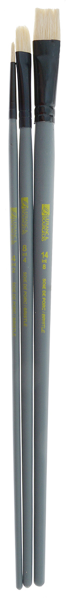 Набор кистей LeFranc Louvre, 3 шт. LF806737НЭКО51Кисти из набора LeFranc Louvre идеально подойдут для работы с акриловыми красками и прочими искусственными эмульсиями, а так же с темперой, гуашью, акварелью и масляными красками. В набор входят кисти Round № 4, Flat № 14 и Filbert № 8. Кисти изготовлены из щетины. Конусообразная форма пучка позволяет прорисовывать мелкие детали и выполнять заливку фона.Пластиковые ручки оснащены алюминиевыми втулками с двойным обжимом.Длина кистей: Round № 4 - 28 см; Flat № 14 - 29,5 см; Filbert № 8 - 28,5 см.Длина ворса: Round № 4 - 1 см; Flat № 14 - 1,6 см; Filbert № 8- 1,8 см.