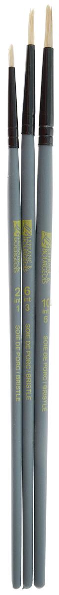 Набор кистей LeFranc Louvre, 3 шт. LF806754711001Кисти из набора LeFranc Louvre идеально подойдут для работы с акриловыми красками и прочими искусственными эмульсиями, а так же с темперой, гуашью, акварелью и масляными красками. В набор входят кисти Round № 2, 6 и 10. Кисти изготовлены из щетины. Конусообразная форма пучка позволяет прорисовывать мелкие детали и выполнять заливку фона.Пластиковые ручки оснащены алюминиевыми втулками с двойным обжимом.Длина кистей: Round № 2 - 19,3 см; № 6 - 20,5 см; № 10 - 20,7 см.Длина ворса: Round № 2 - 8 мм, № 6 - 1,2 см, № 10 - 1,5 см.
