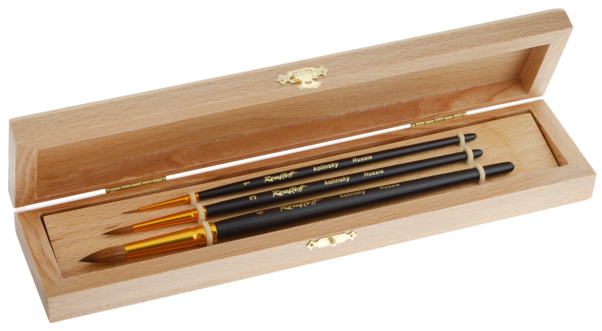 Набор кистей Rubloff №6, колонок, в футляре, 3 шт2010440Кисти из набора Rubloff 6 идеально подойдут для художественных и декоративно-оформительских работ. В набор входят круглые кисти №1, 3, 6. Щетина изготовлена из волоса колонка. Деревянные длинные ручки оснащены анодированными втулками с двойной обжимкой из алюминия. В комплект входит буковый футляр. Длина кистей: №1 - 21 см; №3 - 19 см; №6 - 17,8 см.Длина пучка: №1 - 7 мм; №3 - 1,5 см; №6 - 2 см.Размер футляра: 27 х 6,5 х 3 см.