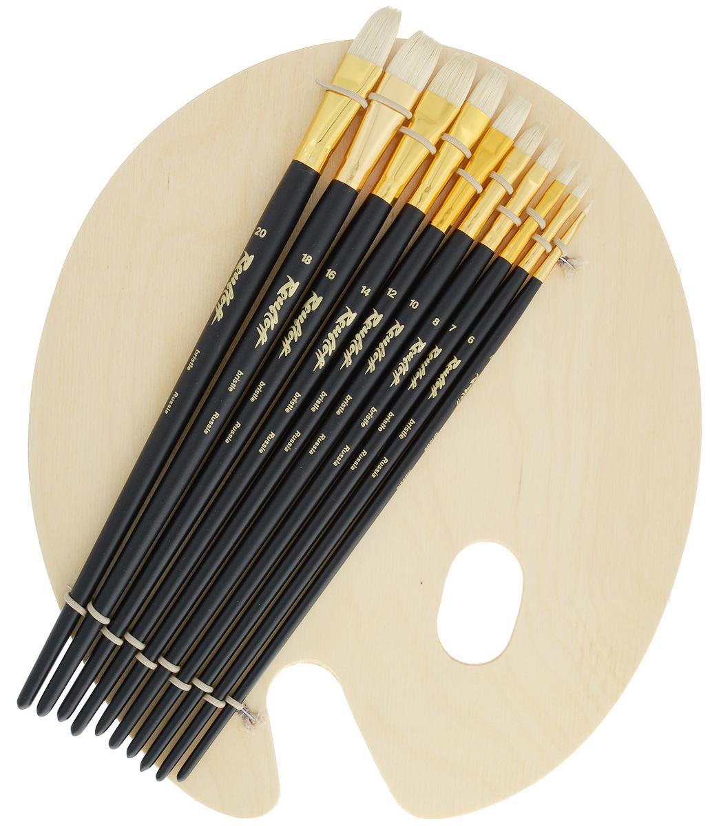 Набор кистей Rubloff №42, с палитрой, 10 шт711008Набор Rubloff №42 состоит из десяти плоских кистей №4, 6, 7, 8, 10, 12, 14, 16, 18, 20 и овальной деревянной палитры. Такой набор идеально подойдет для художественных и декоративно-оформительских работ. Кисти изготовлены из щетины. Деревянные длинные ручки оснащены алюминиевыми втулками с двойной обжимкой.Длина кистей: №4 - 29,7 см; №6 - 30,8 см; №7 - 31,2 см; №8 - 31,3 см; №10 - 31,5 см; №12 - 31,8 см; №14 - 32,5 см; №16 - 32,2 см; №18 - 32,2 см; №20 - 33 см.Длина пучка: №4 - 7 мм; №6 - 1 см; №7 - 1,2 см; №8 - 1,4 см; №10 - 1,5 см; №12 - 1,7 см; №14 - 1,9 см; №16 - 2 см; №18 - 2,2 см; №20 - 2,6 см.Размер палитры: 33 х 28,5 х 0,2 см.