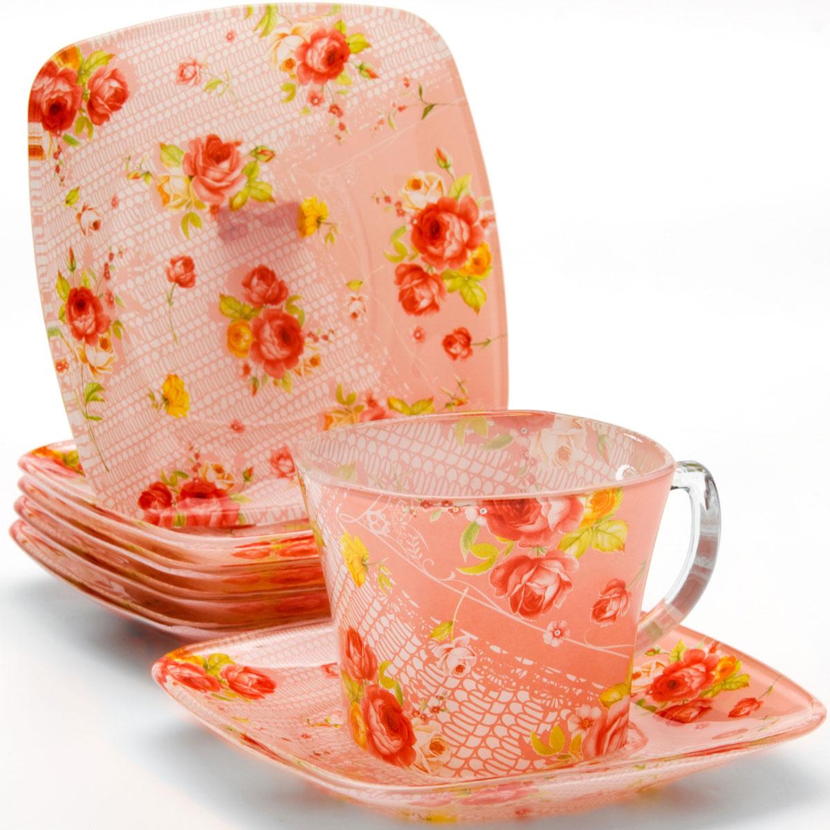 Набор чайный Loraine, 12 предметов. 24128115610Чайный набор, выполненный из высококачественного прочного стекла, состоит из шести чашек и шести блюдец. Изделия декорированы изящным изображением цветов. Элегантный дизайн и совершенные формы предметов набора привлекут к себе внимание и украсят интерьер вашей кухни. Набор идеально подойдет для сервировки стола и станет отличным подарком к любому празднику. Подходит как для горячих, так и для холодных напитков. Объем чашки: 200 мл.