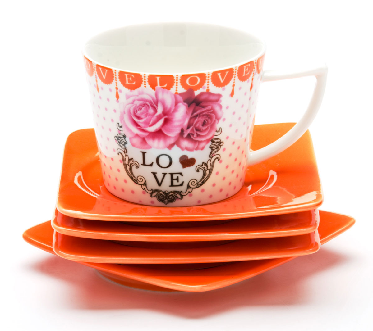 Набор кофейный Mayer & Boch, 12 предметов. 2471824718Кофейный набор Mayer & Boch состоит из 6 чашек и 6 блюдец, выполненных из высококачественой керамики. Чашка оформлена ярким изображением и надписью Love. Изящный дизайн и красочность оформления придутся по вкусу и ценителям классики, и тем, кто предпочитает современный стиль.Чайный набор - идеальный и необходимый подарок для вашего дома и для ваших друзей в праздники, юбилеи и торжества! Он также станет отличным корпоративным подарком и украшением любой кухни. Набор упакован в подарочную коробку из плотного цветного картона. Внутренняя часть коробки задрапирована белым атласом.Диаметр чашки: 5 см.Высота чашки: 6,5 см.Объем чашки: 100 мл. Размеры блюдца: 9,5х9,5 х 1 см.