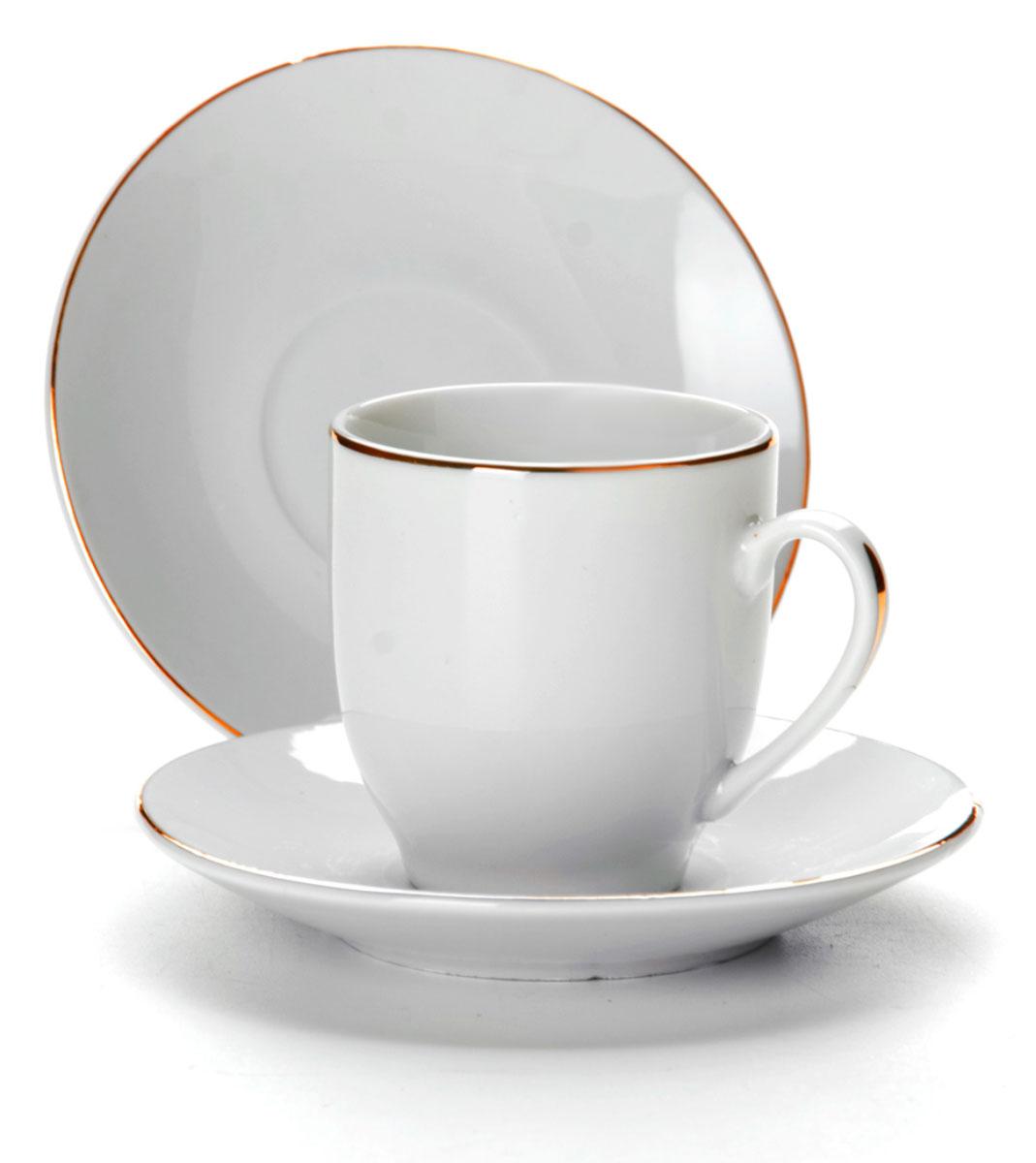 Набор кофейный Loraine, 12 предметов. 25609115610Набор изготовлен из качественной керамики. Керамика безопасна для здоровья и надолго сохраняет тепло напитка. Изысканно белый цвет с золотым декором придает набору элегантный вид. Объем чашки: 90 мл.Диаметр чашки: 6 см.Высота чашки: 5,5 см.Диаметр блюдца: 10,5 см.