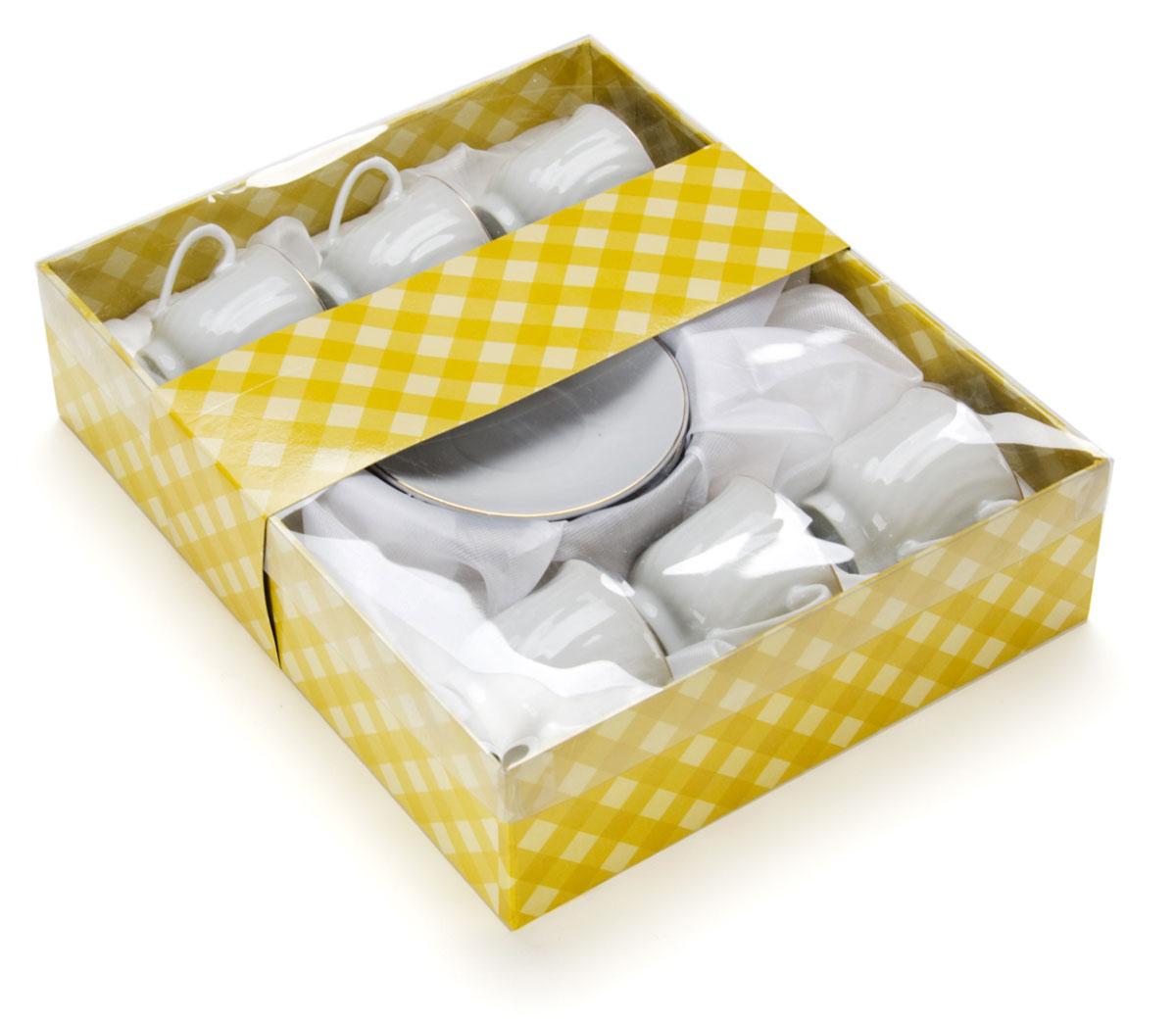 Набор кофейный Loraine, 12 предметов. 25610VT-1520(SR)Набор отличается своим изысканным дизайном, прочностью и функциональностью. Несмотря на свою внешнюю хрупкость, каждый из предметов набор облает высокой прочностью и надежностью. Аккуратные чашечки и блюдца выполнены из высококачественной керамики - материала безопасного для здоровья и надолго сохраняющего тепло напитка. Элегантный, классический дизайн с золотым декором делают этот кофейный набор прекрасным украшением любого стола.Объем чашки: 90 мл.Диаметр чашки: 6 см.Высота чашки: 5,5 см.Диаметр блюдца: 10,5 см.