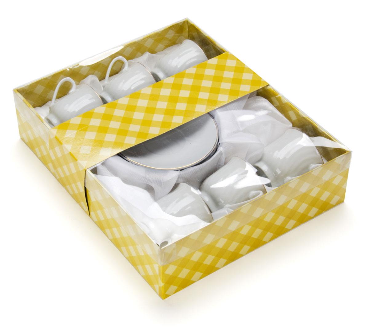Набор кофейный Loraine, 12 предметов. 25611PR7983нНабор отличается своим изысканным дизайном, прочностью и функциональностью. Несмотря на свою внешнюю хрупкость, каждый из предметов набор облает высокой прочностью и надежностью. Аккуратные чашечки и блюдца выполнены из высококачественной керамики - материала безопасного для здоровья и надолго сохраняющего тепло напитка. Элегантный, классический дизайн с золотым декором делают этот кофейный набор прекрасным украшением любого стола.Объем чашки: 90 мл.Диаметр чашки: 6 см.Высота чашки: 5,5 см.Диаметр блюдца: 10,5 см.