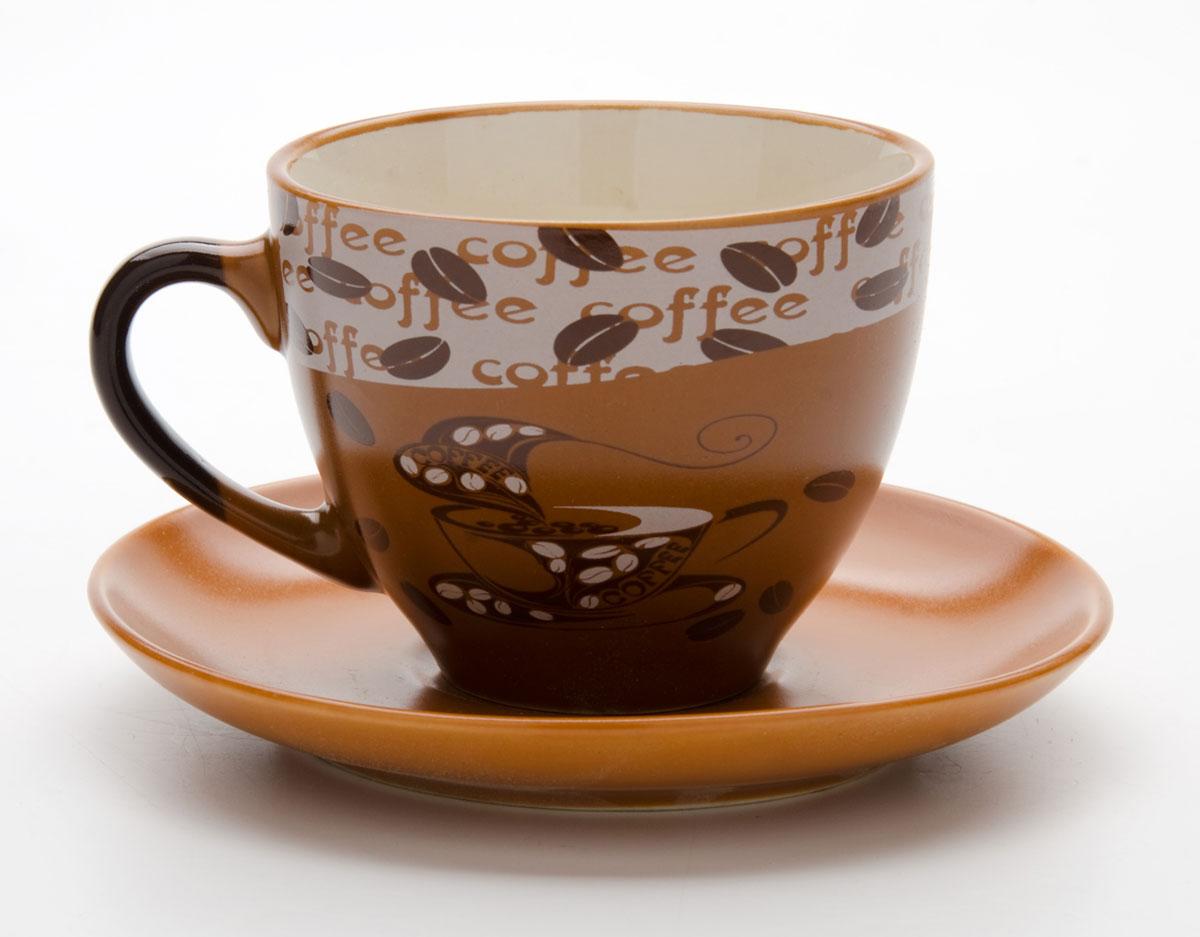 Набор чайный Mayer & Boch, на подставке, 13 предметов. 23540115510Чайный набор состоит из 6 чашек, 6 блюдец и металлической подставки. Предметы набора изготовлены из высококачественной керамики в коричневых тонах и оформлены стильным рисунком Кофе. Чайный набор идеально подойдет для сервировки стола и станет отличным подарком к любому празднику. Изделия можно компактно хранить на подставке, входящей в набор. Подходит для мытья в посудомоечной машине. Объем чашки: 220 мл.