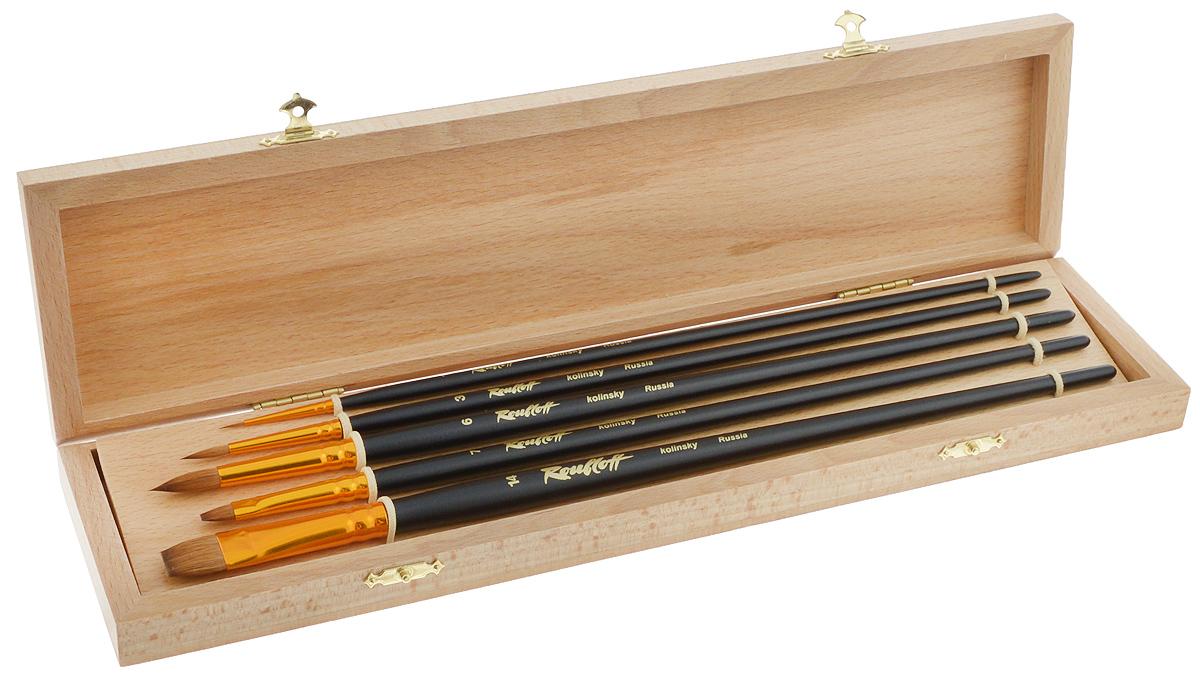 Набор кистей Rubloff №4, в футляре, 5 шт701099Кисти из набора Rubloff №4 идеально подойдут дляхудожественных и декоративно-оформительских работ. Внаборвходят круглые кисти №1, 3, 6 и плоские - №7, 14. Щетина изготовлена из волоса колонка.Деревянные длинные ручки оснащены анодированнымиалюминиевымивтулками с двойной обжимкой. В комплект входит буковый футляр. Длина кистей: №1 - 29 см; №3 - 30,5 см; №6 - 32 см; №7 - 30,7см; №14 - 32 см.Длина пучка: №1 - 8 мм; №3 - 1,5 см; №6 - 2,1 см; №7 - 1 см;№14 - 1,6 см.Размер футляра: 36 х 9,2 х 3,5 см.