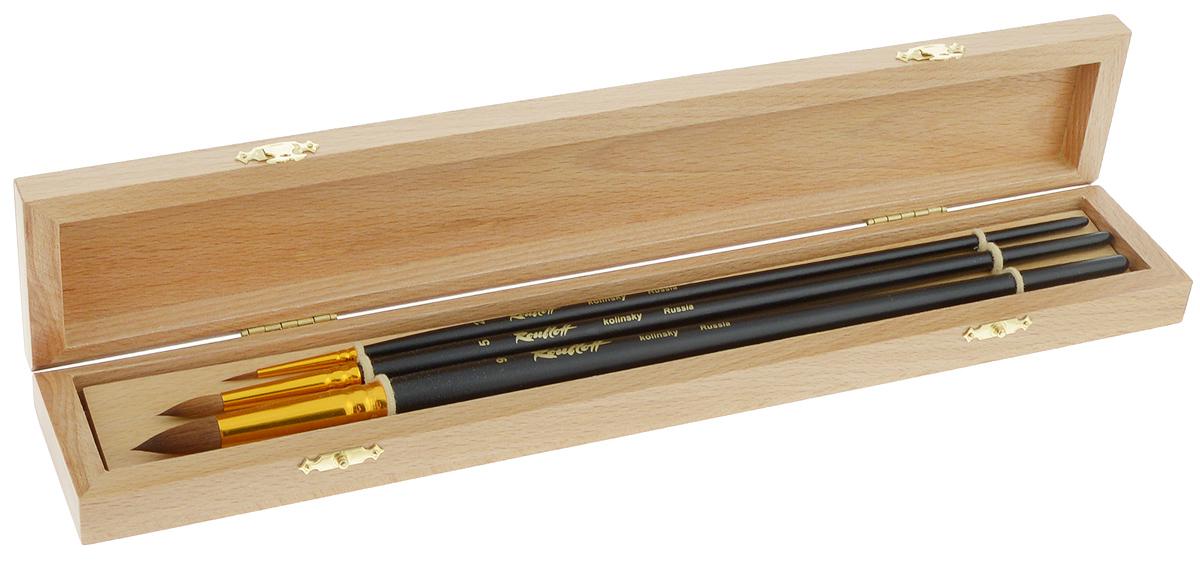 Набор кистей Rubloff №8, в футляре, 3 шт710010Кисти из набора Rubloff №8 идеально подойдут для художественных и декоративно-оформительских работ. В набор входят круглые кисти №2, 5 и 9. Щетина изготовлена из волоса колонка. Деревянные длинные ручки оснащены анодированными алюминиевыми втулками с двойной обжимкой. Конусообразная форма пучка позволяет прорисовывать мелкие детали и выполнять заливку фона. В комплект входит буковый футляр. Длина кистей: №2 - 29,5 см; №5 - 32 см; №9 - 32,8 см.Длина пучка: №2 - 1 см; №5 - 1,9 см; №9 - 2,5 см.Размер футляра: 36 х 6,5 х 3,5 см.