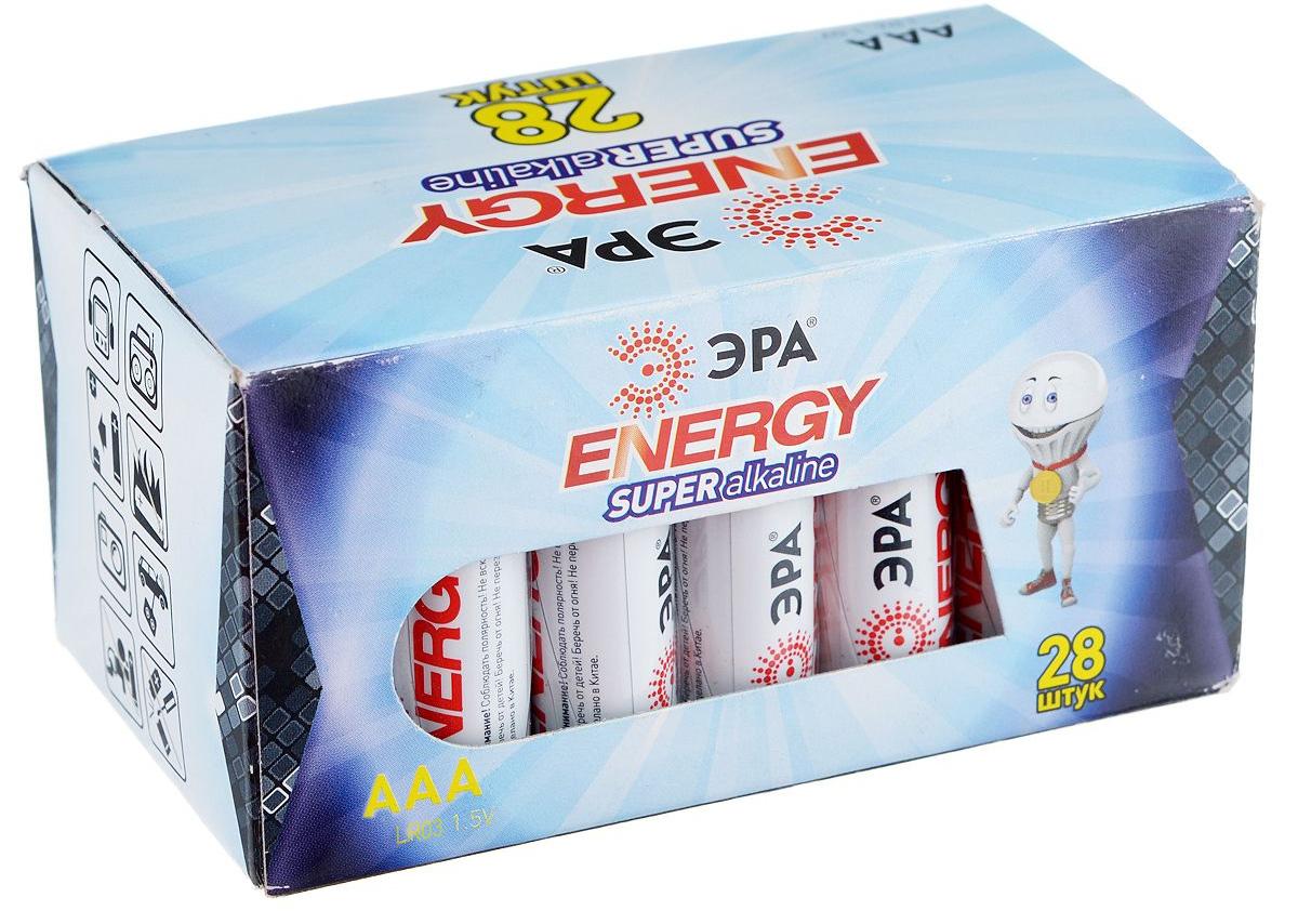 Батарейка алкалиновая ЭРА Energy, тип AAA (LR03), 1,5В, 28 шт2695Щелочные (алкалиновые) батарейки ЭРА Energy оптимально подходят для повседневного питания множества современных бытовых приборов: электронных игрушек, фонарей, беспроводной компьютерной периферии и многого другого. Не содержат кадмия и ртути. Батарейки созданы для устройств со средним и высоким потреблением энергии. Работают в 10 раз дольше, чем обычные солевые элементы питания. Размер батарейки: 1 см х 4,1 см.
