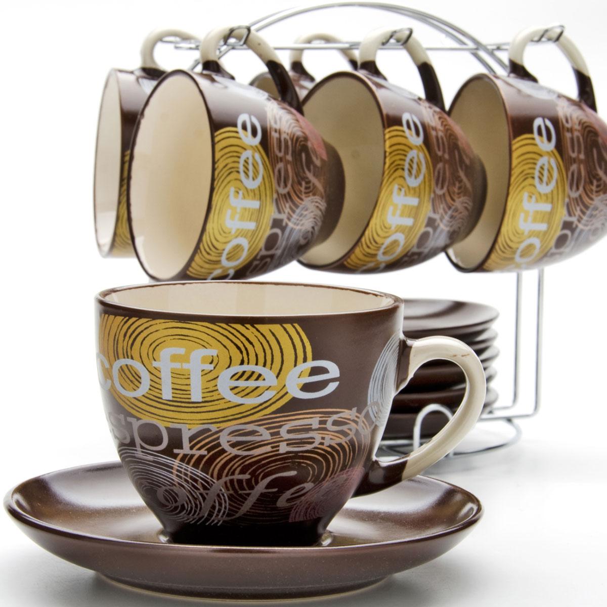 Набор чайный Mayer & Boch, на подставке, 13 предметов. 23538G4126В набор входят шесть чашек и 6 блюдец, изготовленных из керамики. Также в набор входит металлическая подставка. Чашки можно использовать для подогрева напитков в микроволновой печи и мыть в посудомоечной машине.Объем чашки: 220 мл.