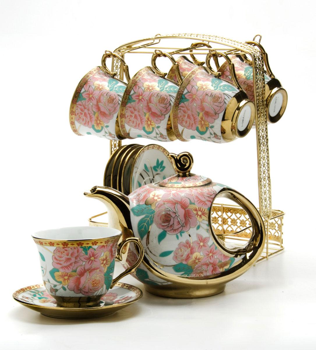 Набор чайный Loraine, на подставке, 15 предметов. 24783115510Чайный набор Loraine состоит из шести чашек, шести блюдец и заварочного чайника. Предметы набора изготовлены из керамики и оформлены изображением цветов и бабочек. Все предметы располагаются на удобной металлической подставке с ручкой. Элегантный дизайн набора придется по вкусу и ценителям классики, и тем, кто предпочитает утонченность и изысканность. Он настроит на позитивный лад и подарит хорошее настроение с самого утра. Чайный набор идеально подойдет для сервировки стола и станет отличным подарком к любому празднику.Объем чашки: 220 мл.Объем чайника: 950 мл.Диаметр блюдца: 13,5 см.