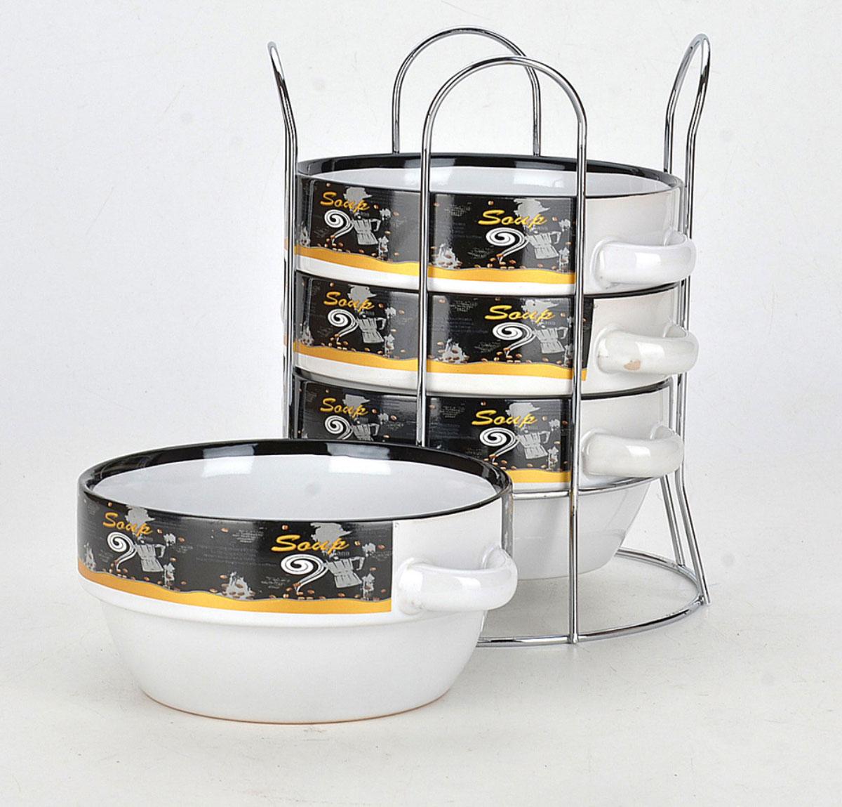 Набор супниц Loraine, на подставке, 575 мл, 5 предметов. 2128454 009312Для хозяек, предпочитающих современный и яркий дизайн, эти супницы будут отличным кухонным сервизом. Супницы белого цвета с ярким узором сделаны из биокерамики. Набор очень удобен в использовании, благодаря подставке он очень компактно расположится на вашей кухне.Объем супницы: 575 мл.Диаметр супницы: 13,5 см.