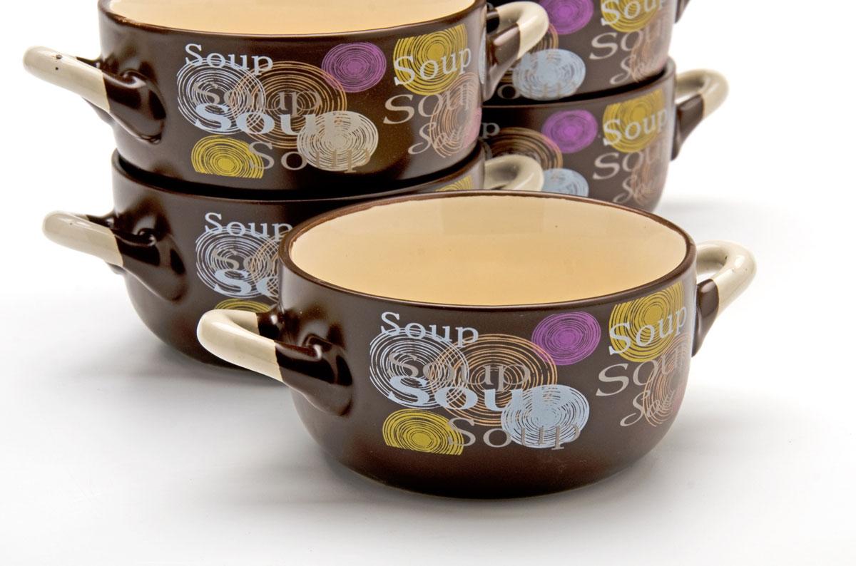 Набор супниц Loraine, 380 мл, 6 предметов. 2354454 009312Каждая хозяйка знает – красивое должно быть и удобным, ведь в первую очередь на кухне важна функциональность. Набор состоит из 6-х керамических супниц. Керамика обладает термической и химической прочностью, поэтому супницы прослужат Вам по-настоящему долго. Набор супниц темного цвета приятно задекорирован светлыми, яркими тонами, создаст на кухне атмосферу уюта. Благодаря своей форме, супницы и подставку легко мыть как вручную, так и в посудомоечной машинке, а компактный размер набора позволит удобно хранить его на любой кухне.