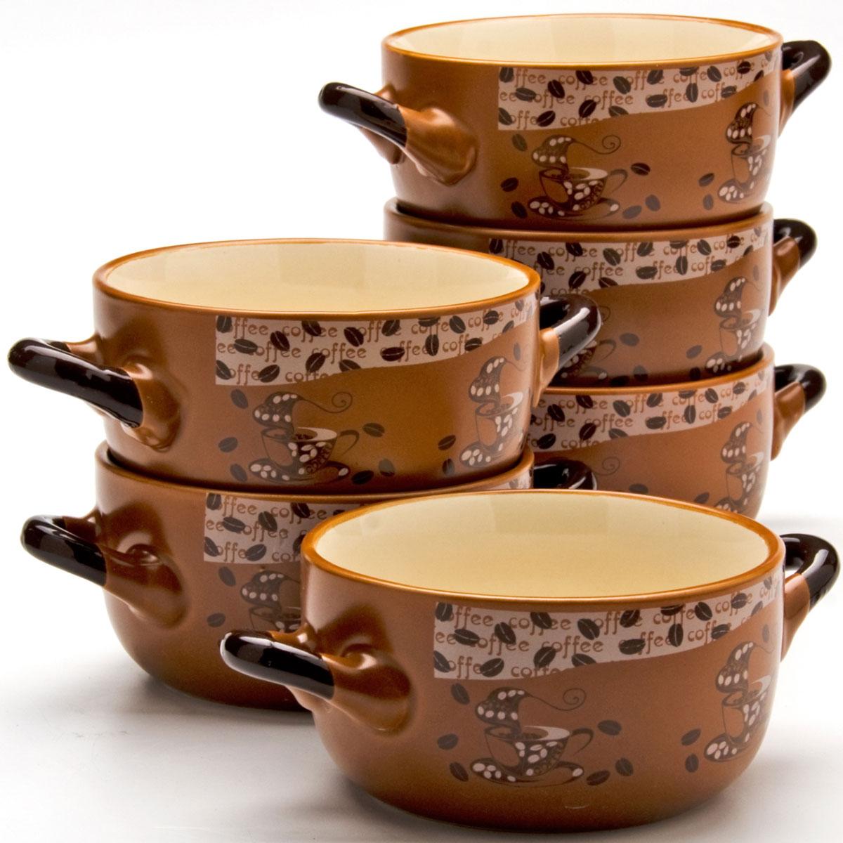 Набор супниц Loraine, 380 мл, 6 предметов. 23546115510Каждая хозяйка знает – красивое должно быть и удобным, ведь в первую очередь на кухне важна функциональность. Набор состоит из 6-х керамических супниц. Керамика обладает термической и химической прочностью, поэтому супницы прослужат Вам по-настоящему долго. Набор супниц шоколадного цвета приятно задекорирован светлыми,нежными тонами, создаст на кухне атмосферу уюта. Благодаря своей форме, супницы и подставку легко мыть как вручную, так и в посудомоечной машинке, а компактный размер набора позволит удобно хранить его на любой кухне.
