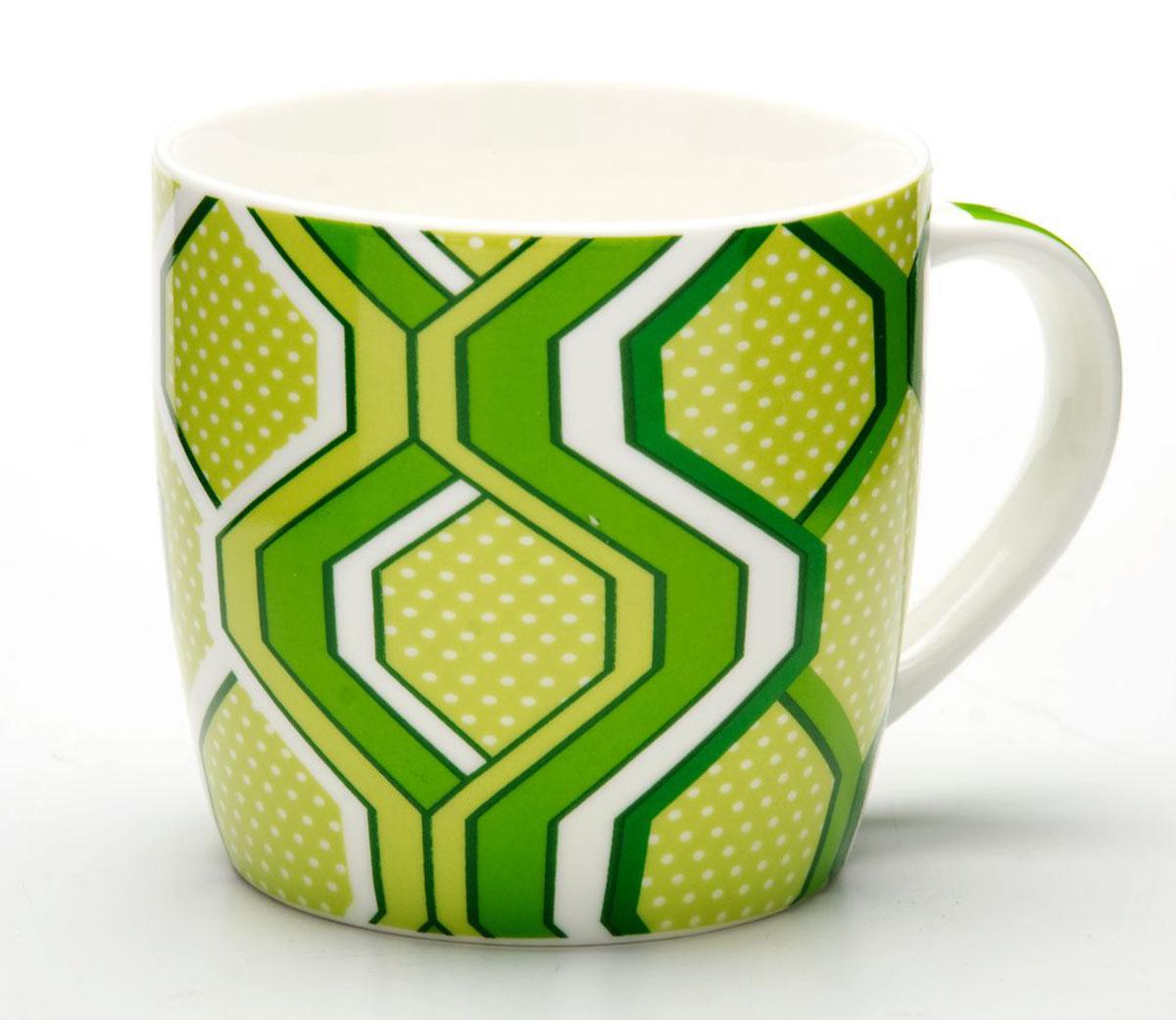 Кружка Loraine, цвет: светло-зеленый, 320 мл. 24487115510Кружка Loraine изготовлена из прочного качественного костяного фарфора. Изделие оформлено красочным рисунком. Благодаря своим термостатическим свойствам, изделие отлично сохраняет температуру содержимого - морозной зимой кружка будет согревать вас горячим чаем, а знойным летом, напротив, радовать прохладными напитками. Такой аксессуар создаст атмосферу тепла и уюта, настроит на позитивный лад и подарит хорошее настроение с самого утра. Это оригинальное изделие идеально подойдет в подарок близкому человеку. Диаметр (по верхнему краю): 8,5 см.Высота кружки: 8,2 см. Объем: 320 мл.