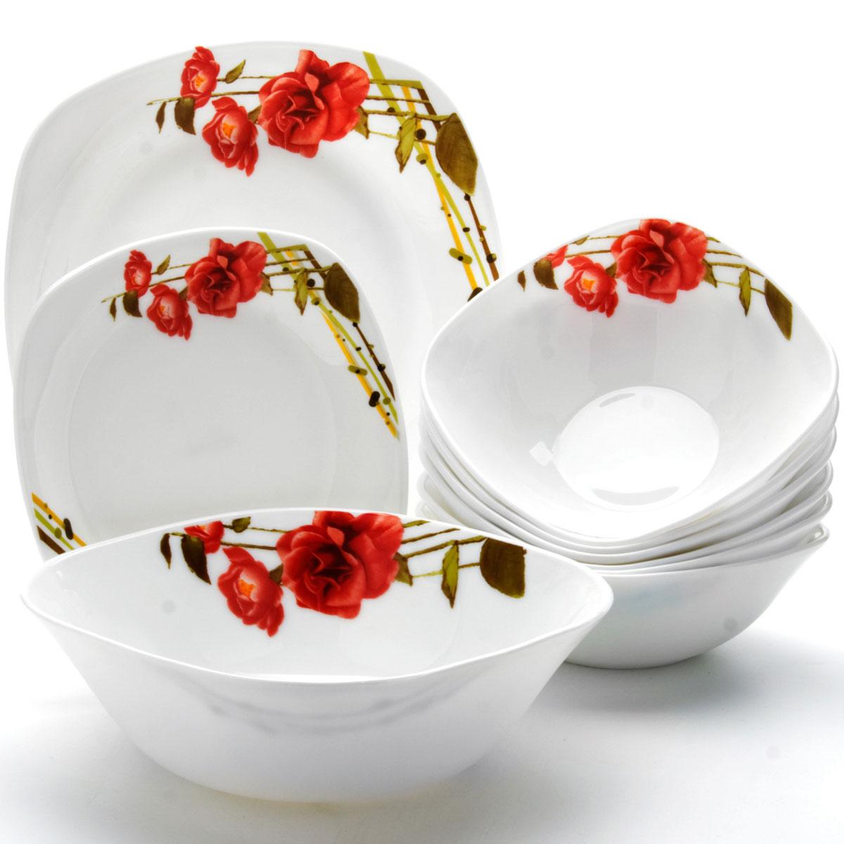 Сервиз столовый Mayer & Boch, 19 предметов. 24100420040Сервиз столовый Mayer & Boch состоит из 6 обеденных тарелок, 6 десертных тарелок, 6 суповых тарелок и 1 салатника. Предметы набора изготовлены из стекла с гладким качественным покрытием и украшены изысканным изображением красных роз. Набор создаст отличное настроение во время обеда, будет уместен на любой кухне и понравится каждой хозяйке. Красочное оформление предметов набора придает ему оригинальность и торжественность. Практичный и современный дизайн делает набор довольно простым и удобным в эксплуатации.Предметы набора можно мыть в посудомоечной машине, использовать в микроволновой печи и холодильнике.Размер суповой тарелки: 17,8 х 17,8 см.Объем суповой тарелки: 650 мл. Размер обеденной тарелки: 26,7 х 26,7 см.Размер десертной тарелки: 19 х 19 см.Размер салатника: 22,9 х 22,9 см.Высота стенок салатника: 7,5 см.Объем салатника: 1,4 л.