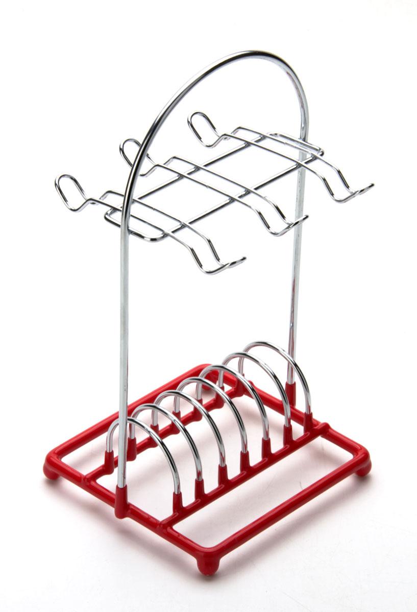 Подставка для кофейного сервиза Mayer & Boch. 2008821395599Подставка-стойка для кофейного сервиза изготовлена из хромированной стали, основание подставки с красным резиновым покрытием. Подставка настольная, вертикальная, рассчитана на 6 чашек и 6 блюдец.Размер подставки: 14 x 14 x 28 см.