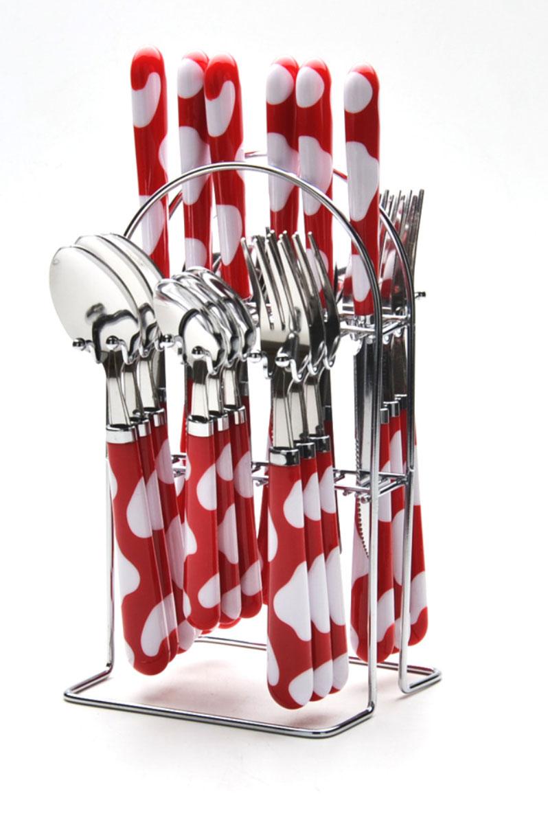 Набор столовых приборов Mayer & Boch, 25 предметов. 22491-1VT-1520(SR)Набор столовых приборов Mayer & Boch выполнен из прочной нержавеющей стали. В набор входит 25 предметов: 6 обеденных ножей, 6 обеденных ложек, 6 обеденных вилок и 6 чайных ложек и подставка. Приборы имеют оригинальные удобные ручки с оригинальным узором. Прекрасное сочетание свежего дизайна и удобство использования предметов набора придется по душе каждому. Предметы набора расположены на подставке из стали с четырьмя секциями для каждого вида приборов. Подставка оснащена удобной ручкой для переноски. Набор столовых приборов Mayer & Boch подойдет для сервировки стола, как дома, так и на даче и всегда будет важной частью трапезы, а также станет замечательным подарком.