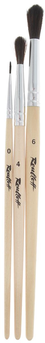 Набор кистей Rubloff, 3 шт. НЭКО53743004Кисти из набора Rubloff идеально подойдут для художественных и декоративно-оформительских работ. В набор входят круглые кисти №0, 4 и 6. Щетина изготовлена из имитированного волоса белки. Деревянные ручки оснащены алюминиевыми втулками с двойной обжимкой. Конусообразная форма пучка позволяет прорисовывать мелкие детали и выполнять заливку фона. Длина кистей: №0 - 17,2 см; №4 - 18,8 см; №6 - 21,1 см.Длина пучка: №0 -8 мм; №4 - 1,8 см; №6 - 2,2 см.