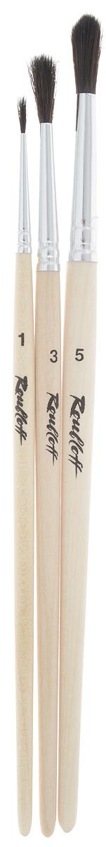 Набор кистей Rubloff, 3 шт. НЭКО51710004Кисти из набора Rubloff идеально подойдут для художественных и декоративно-оформительских работ. В набор входят круглые кисти №1, 3 и 5. Щетина изготовлена из имитированного волоса белки. Деревянные ручки оснащены алюминиевыми втулками с двойной обжимкой. Конусообразная форма пучка позволяет прорисовывать мелкие детали и выполнять заливку фона. Длина кистей: №1 - 17,6 см; №3 - 18,8 см; №5 - 19,7 см.Длина пучка: №1 - 9 мм; №3 - 1,6 см; №5 - 1,9 см.