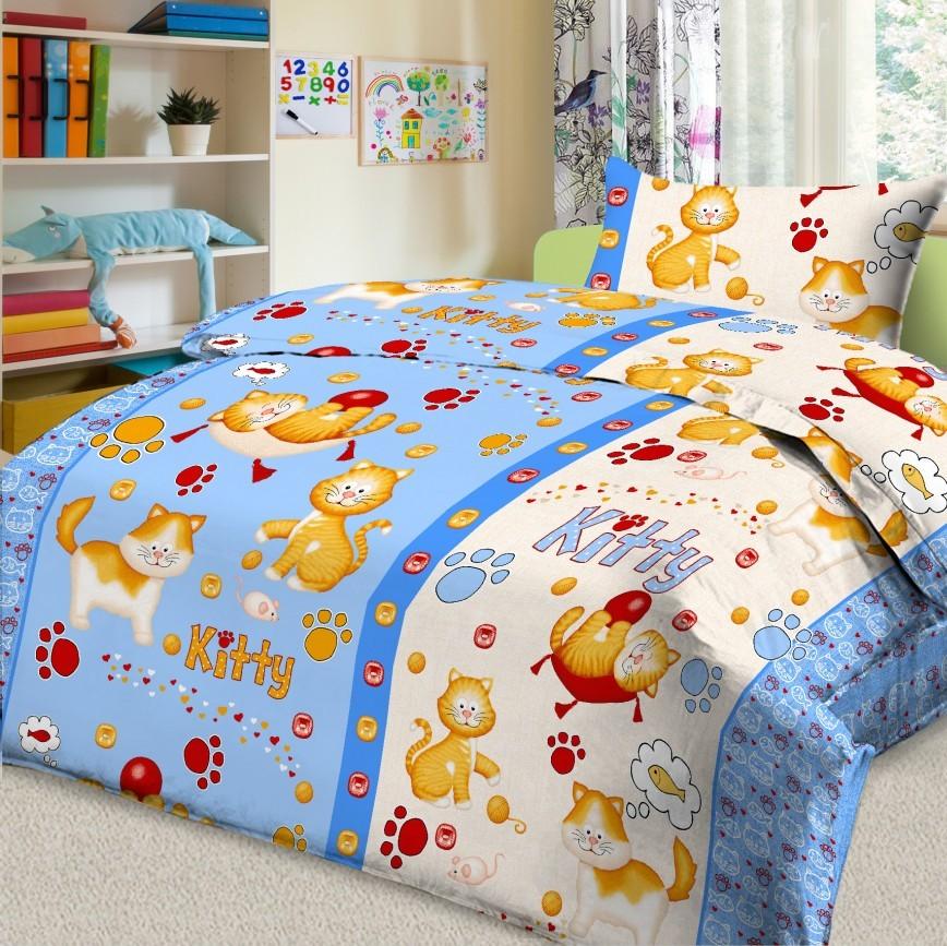 Letto Комплект детского постельного белья Китти цвет голубой531-105Letto.kids - это веселые детские и подростковые дизайны, в хлопковом исполнении с хорошими устойчивыми красителями и все это по очень доступной цене! Такое белье прослужит долго и выдержит много стирок. Рисунок на наволочке может отличаться от представленного на фото.