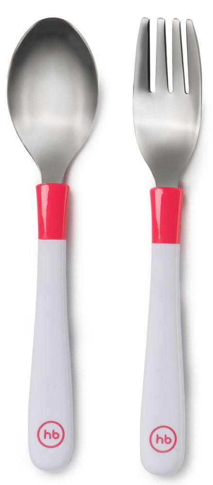 Happy Baby Набор детских столовых приборов Ложка и вилка цвет белый коралловыйVT-1520(SR)Набор детских столовых приборов Happy Baby включает в себя ложку и вилку из нержавеющей стали с полипропиленовыми ручками. Набор поможет малышу научиться есть самостоятельно, использую взрослые столовые приборы. Особая форма ложки и закругленные зубчики вилки гарантируют безопасность при использовании.Не содержит бисфенол-А. Можно мыть в посудомоечной машине.