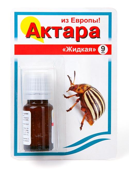 Инсектицид Актара, для защиты от вредителей, жидкая, 9 млУТ-00000458Инсектицид кишечно-контактного действия против сосущих (тли, цикадки, белокрылка), грызущих (колорадский жук, пьявица, блошки) насекомых 0,6 мл препарата достаточно для обработки 1 сотки! (9 мл — на 15 соток). Эффект наблюдается через несколько часов после обработки. Особенность действующего вещества этого препарата в том, что риск возникновения резистентности (устойчивости) вредителей минимален.