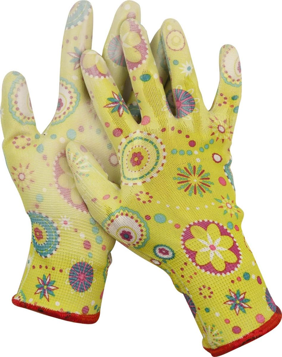Перчатки садовые Grinda. Размер L02015_синийСадовые перчатки Grinda - надежная защита женских рук при работе в саду. Полиуретановое покрытие обеспечивает устойчивость ладонной части к проникновению влаги. Комфортны в использовании благодаря вентиляции тыльной части перчатки. Эластичны и плотно облегают кисть, что обеспечивает дополнительное удобство. Надежно защищают руки от грязи и проникновения земли внутрь перчатки. Сохраняют тактильную чувствительность пальцев благодаря технологии бесшовной вязки.Размер перчаток: L.