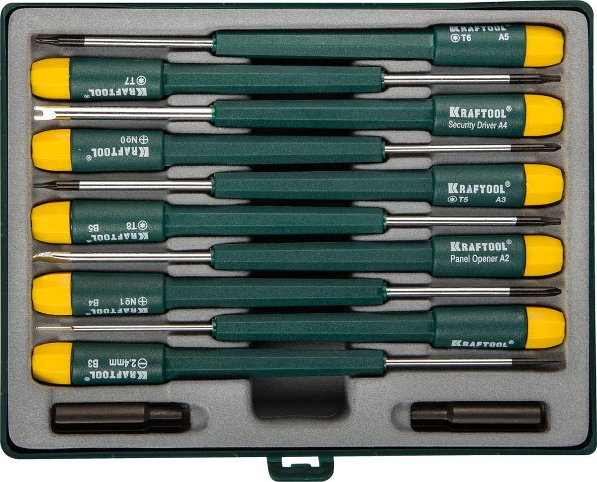 Набор отверток Kraftool, для ремонта мобильных телефонов, 12 предметов80621Набор отверток Kraftool предназначен для ремонтных работ мобильных телефонов, а также для сборки и ремонта часов. Набор включает 10 отверток (SL2; PH0; PH1; TORX T5-T8; СА), а также специальные отвертки: security driver A4; panel opener A2; cover opener A1. Имеются две дополнительные насадки. Стержни отверток с круглым сечением изготовлены из легированной стали. Наконечники стержней имеют износостойкое антикоррозионное покрытие. Удобные пластиковые рукоятки эргономичной формы снабжены вращающимся затыльником. Удобный пластиковый кейс с прозрачной верхней крышкой и хомутом для подвеса обеспечивает удобство транспортировки и хранения набора.