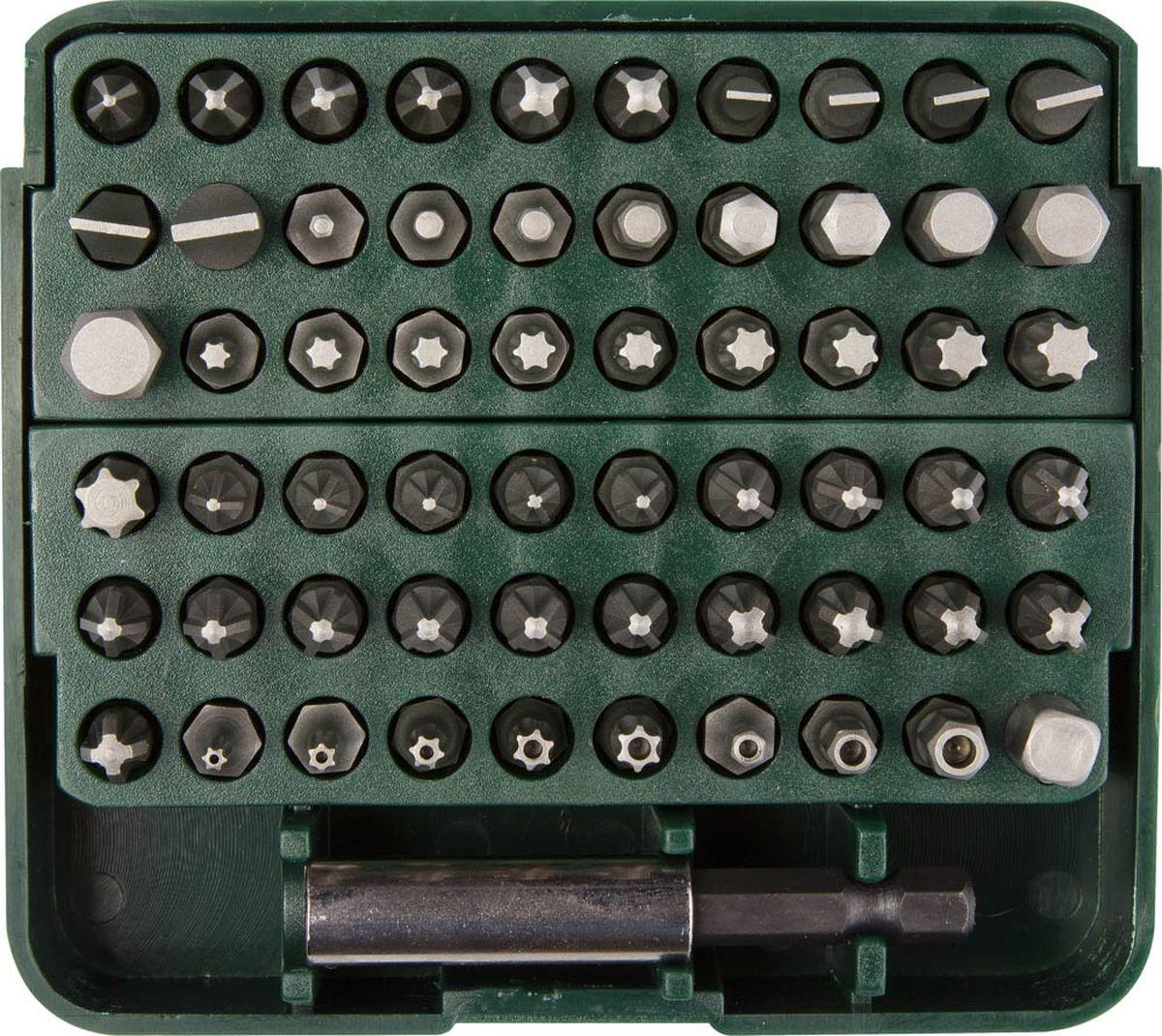 Набор бит Kraftool Expert, с адаптером, 61 предмет98298123_черныйНабор бит Kraftool Expert включает специальные биты, которые предназначены только для профессионального использования в работе с крепежом, так как головки имеют специальный профиль. Набор бит может использоваться как при работе с шуруповертом, так и в работе с универсальными отвертками под биты. Набор состоит из 61 предмета и включает удлинитель-адаптер с магнитным держателем для бит, переходник для торцевых головок 1/4 и 59 бит. Магнитный адаптер-удлинитель используется в механизированном инструменте и обеспечивает надежное крепление биты в посадочном гнезде. Надежный пластиковый кейс удобен для хранения и транспортировки набора. Каждая бита крепится в индивидуальном посадочном отверстии кейса. Пластиковая защелка обеспечивает защиту кейса от случайного открытия. Комплект содержит: - Удлинитель-адаптер с магнитным держателем для бит; - Переходник для торцевых головок 1/4;- 59 бит длиной 25 мм (SL 4, SL 4,5, SL 5, SL 6, SL7, SL8, PZ №1 - 5 шт; PZ №2 - 10 шт; PZ №3 - 5 шт; PH №1, PH №2 - 3 шт; PH №3 - 2 шт; HEX: 2 мм, 2,5 мм, 3 мм, 4 мм, 5 мм, 5,5 мм, 6 мм, 7 мм, 8 мм; TORX: T10, T15 - 2 шт, T20 - 2 шт, T25 - 2 шт, T27, T30, T40; TORX HOLE: T8, T10, T15, T20, T25; Square: 3 мм, 4 мм, 5 мм); - Пластиковый кейс.