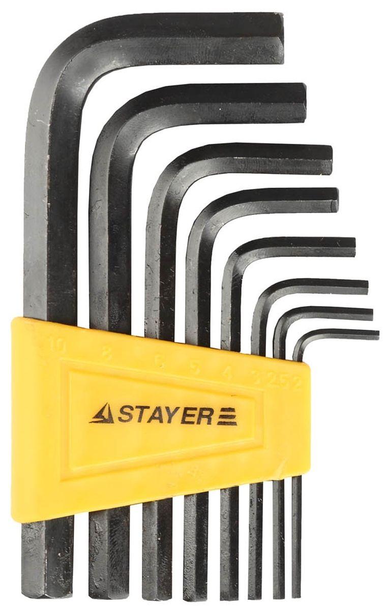 Набор имбусовых ключей Stayer Standard, 2-10 мм, 8 штАксион Т-33Имбусовые ключи Stayer Standard применяются для выполнения монтажных и демонтажных работ с винтами и болтами с внутренним шестигранником. Изготовлены из высококачественной инструментальной стали. Оксидированное покрытие защищает ключи от коррозии.В набор входят ключи: 2 мм, 2,5 мм, 3 мм, 4 мм, 5 мм, 6 мм, 8 мм, 10 мм.