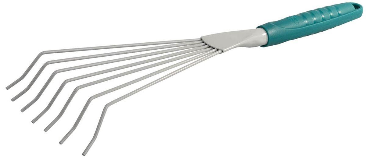 Грабли ручные Raco Standard, веерные, 7 зубцов, 42 смTL-100C-Q1Ручные веерные грабли Raco Standard используются для посадки растений, уборки опавшей листвы, аэрирования почвы в саду и огороде. Грабли имеют 7 круглых зубцов из штампованной стали, покрытых защитной краской, а так же оснащены ударопрочной рукояткой. Длина изделия: 42 см. Ширина рабочей части: 12 см.