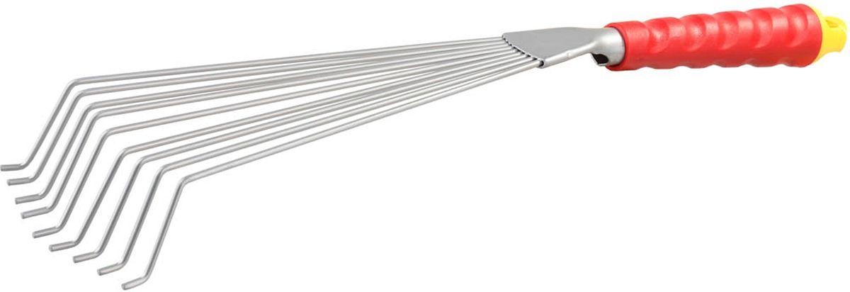 Грабли Grinda веерные, с коннекторной системой, длина 46 см08734-20.000.00Веерные грабли Grinda применяются для аэрирования почвы и сбора опавшей листвы в саду и огороде. Девять зубцов изготовлены из пружинной стали, имеют круглый профиль. Рабочая часть изготовлена из высококачественной углеродистой стали с антикоррозионным покрытием. Эргономичная рукоятка имеет ребристый рельеф для защиты от скольжения. Коннекторная система позволяет использовать удлиняющий стержень (в комплект не входит) с рукояткой для снижения утомляемости при выполнении садовых работ.Ширина рабочей части: 12,5 см.Общая длина изделия: 46 см.