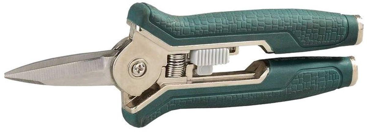 Ножницы Raco цветочные, длина 15 см.1024602Цветочные ножницы Raco изготовлены из закаленной нержавеющей стали. Предназначены для срезания цветов. Легкий и качественный срез обеспечивают насечки на нижнем лезвии. На прочных металлических рукоятках мягкое виниловое покрытие. Снабжены фиксатором. Эргономичные, удобные и надежные в работе. Длина: 15 см.