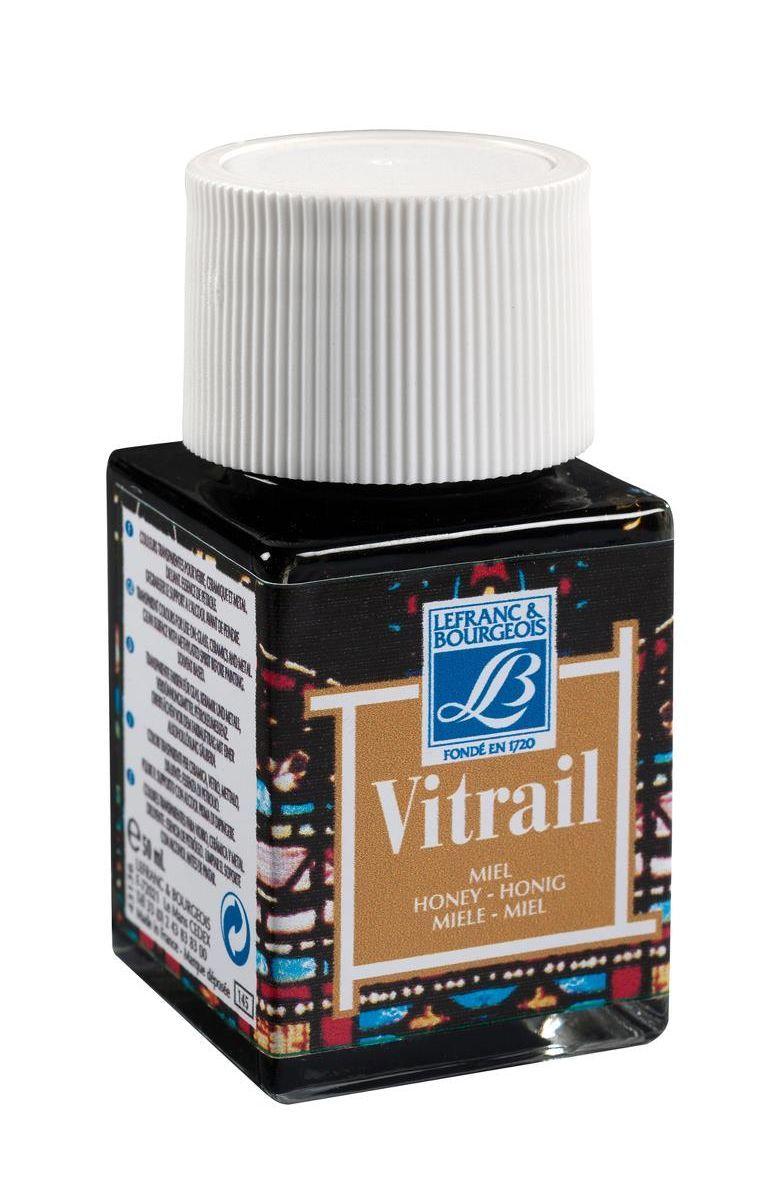 Краска по стеклу Lefranc & Bourgeois Vetrail, 50 мл, цвет: 145 Медовый. LF2115860775B001Краски Vitrail густые, прозрачные, взаимосмешиваемые. При нанесении образуют ровный глянцевый слой, не образуют подтеков и не мутнеют после высыхания. Краски для стекла Vitrail представлены в ассортименте из 18 ярких глянцевых цветов в стеклянных баночках по 50 мл. Эти краски идеально походят для создания витражей и декорирования.