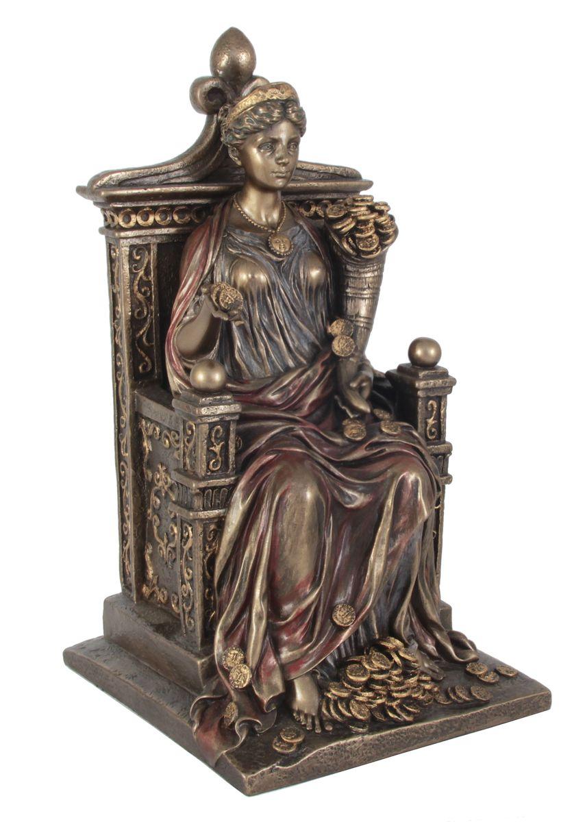 Статуэтка Veronese Фортуна, высота 26 смa030073Декоративная статуэтка Veronese Фортуна изготовлена из полистоуна бронзового цвета. Изделие выполнено в виде древнеримской богини удачи - Фортуны, сидящей на троне с рогом изобилия.Вы можете поставить статуэтку в любом месте, где она будет удачно смотреться и радовать глаз. Такая фигурка прекрасно дополнит интерьер офиса или дома. Veronese - это торговая марка, представляющая широкий ассортимент художественных изделий из полистоуна, выполненных по эскизам итальянских дизайнеров и художников.
