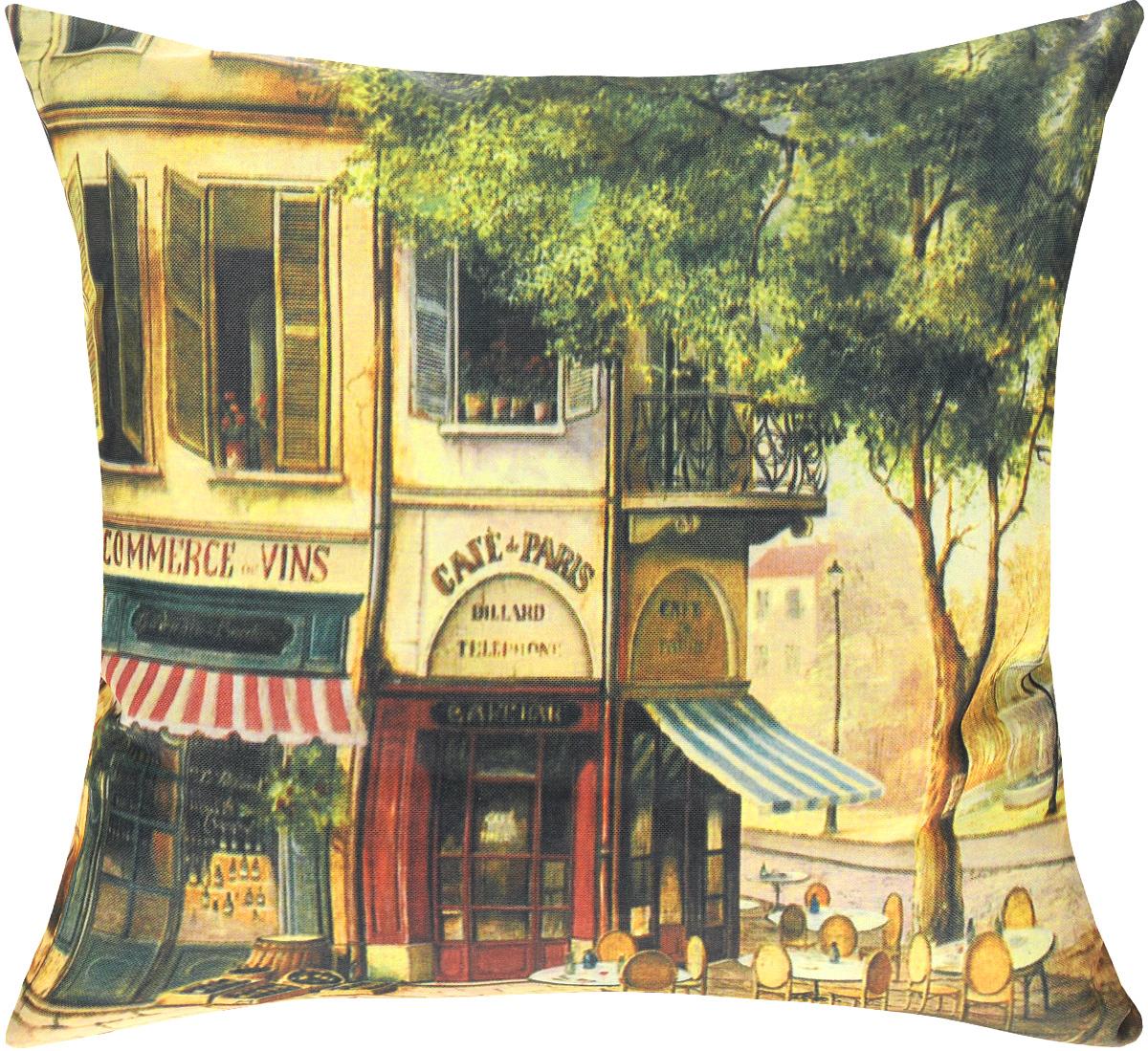 Подушка декоративная GiftnHome Парижское кафе, 40 х 40 cм391602Декоративная подушка GiftnHome Парижское кафе - это яркое украшение вашего дома. Чехол выполнен из ткани Оксфорд и украшен красочным изображением. Внутренний наполнитель подушки - холлофайбер. Чехол застегивается на молнию.Красивая подушка создаст в доме уют и станет прекрасным элементом декора.