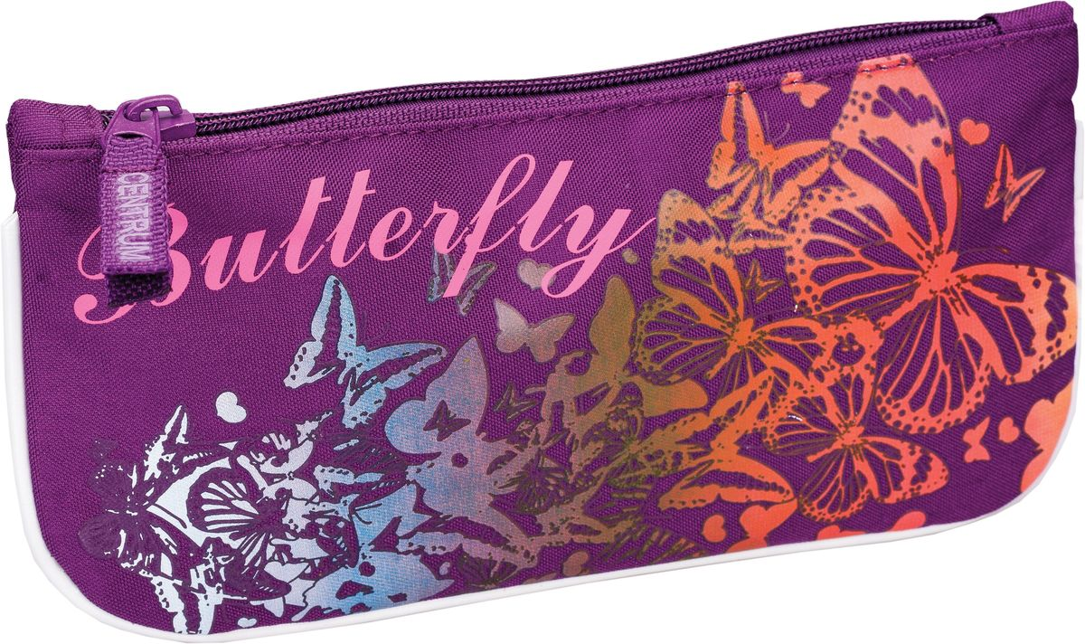 Centrum Пенал Butterfly29294Пенал Centrum Butterfly станет не только практичным, но и стильным школьным аксессуаром для вашей юной школьницы. Он выполнен из прочного полиэстера и закрывается на застежку-молнию, декорированную текстильной фиолетовой вставкой. Состоит из одного вместительного отделения, в котором без труда поместятся канцелярские принадлежности. Пенал оформлен красочным изображением бабочек. Такой пенал станет незаменимым помощником для вашей школьницы. С ним ручки и карандаши всегда будут под рукой и больше не потеряются, а яркое изображение обязательно поднимет настроение!