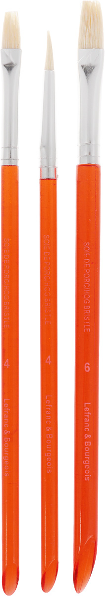 Набор кистей LeFranc Hobby. LF2111341195762Кисти из набора LeFranc Hobby идеально подойдут для работы с акриловыми красками и прочими искусственными эмульсиями, а так же с темперой, гуашью, акварелью и масляными красками. В набор входят кисти: круглая № 4, плоские № 4 и 6. Кисти изготовлены из синтетики. Конусообразная форма пучка позволяет прорисовывать мелкие детали и выполнять заливку фона.Пластиковые ручки оснащены алюминиевыми втулками с двойным обжимом.Длина кистей: № 4 - 18,5 см, № 4 - 19 см, № 6- 19,5 см.Длина ворса: № 4 - 1,2 см, № 4 - 1,3 см, № 6 - 1,6 см.