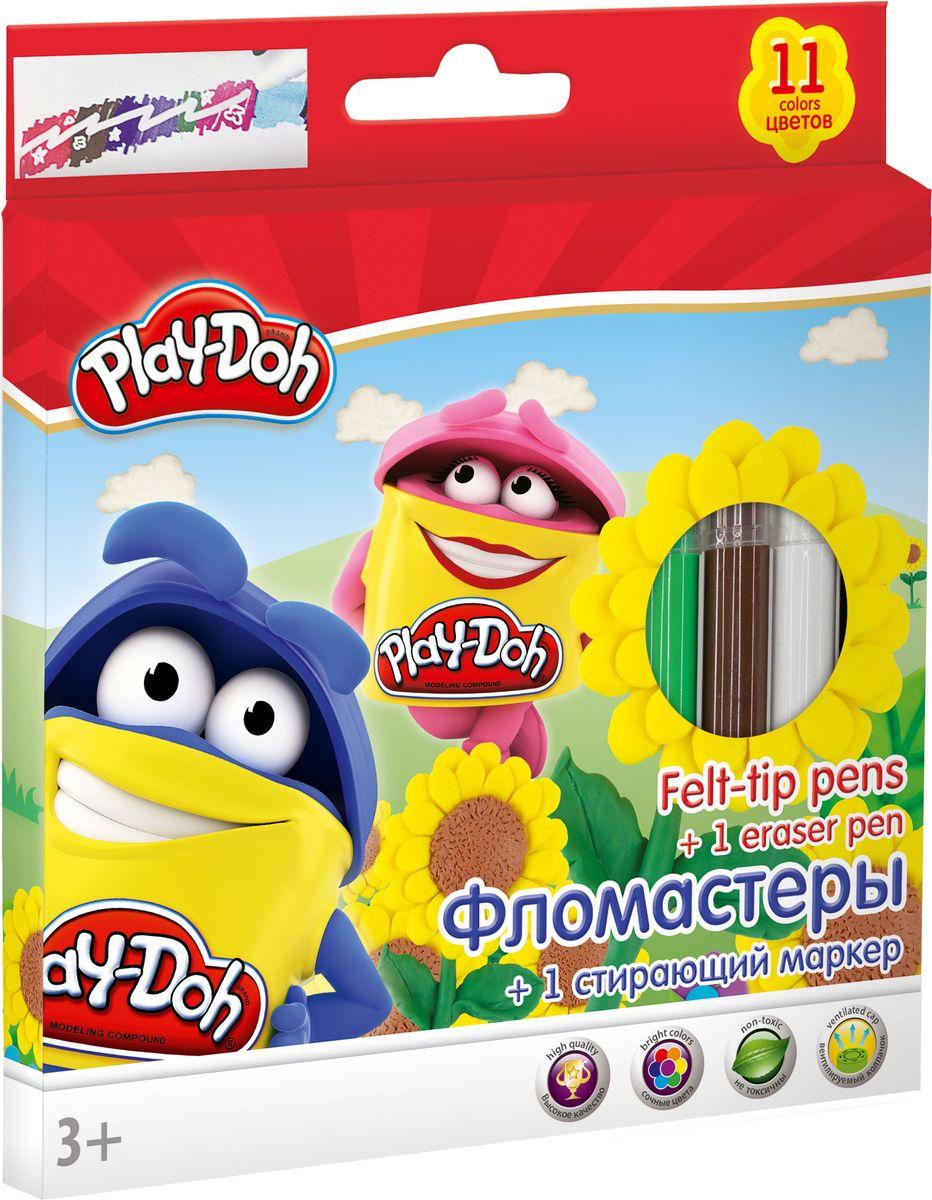 Play Doh Набор цветных фломастеров 12 шт72523WDНабор фломастеров Play Doh предназначен специально для рисования и закрашивания. Он обязательно порадует юных художников и поможет им создать яркие и неповторимые картинки.Фломастеры выполнены из нетоксичного пластика и имеют прочный утолщенный наконечник. В комплекте с фломастерами идет один стирающий маркер.
