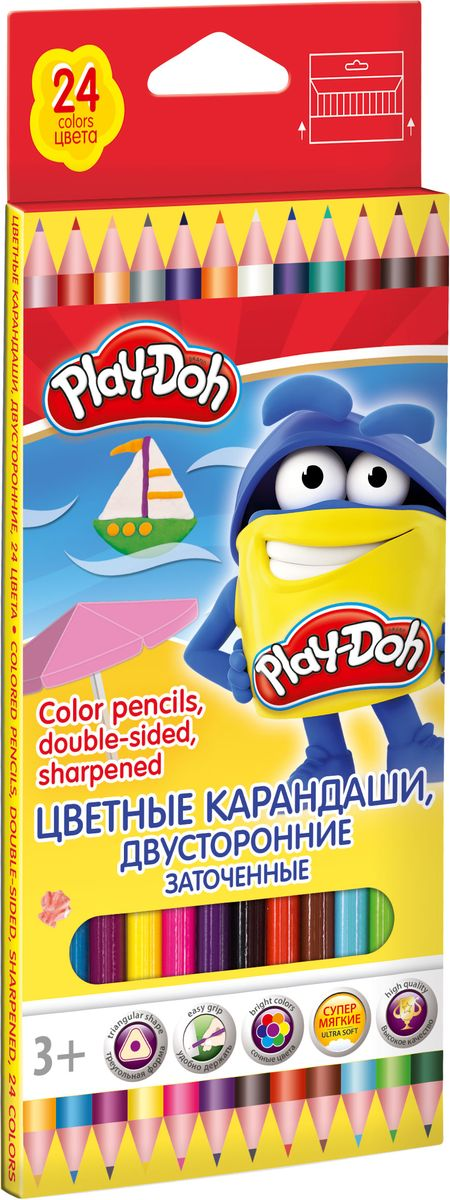 Play Doh Набор цветных карандашей 12 цветов72523WDДвусторонние цветные карандаши Play-Doh созданы специально для увлекательного творчества вашего малыша. Корпус карандаша трехгранный, выполнен из древесины высокого качества, прочный грифель 0.3 мм.Трехгранная форма корпуса прививает навык правильно держать пишущий инструмент.Длина карандаша 178 мм.Набор упакован в картонную коробку с европодвесом.