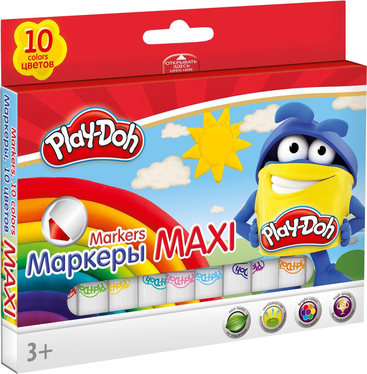 Play Doh Набор цветных маркеров Maxi 10 штPDDB-US1-7MB-10Набор маркеров Play-Doh Maxi, предназначенный специально для рисования и закрашивания, обязательно порадует юных художников и поможет им создать яркие и неповторимые картинки.Корпус маркеров изготовлен из высококачественного нетоксичного пластика, а вентилируемый колпачок увеличивает срок службы чернил и предотвращает их преждевременное высыхание. Эргономичная форма корпуса увеличенной толщины обеспечивает комфортное и легкое рисование.Набор включает в себя 10 маркеров ярких насыщенных цветов.