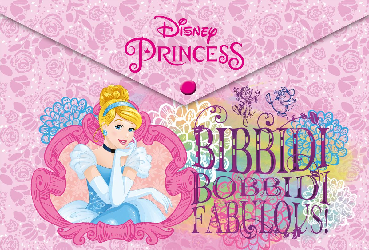 Disney Princess Папка-конверт Bibbidi Bobbidi FabulousAC-1121RDПапка-конверт Disney Princess Bibbidi Bobbidi Fabulous выполнена из полипропилена и предназначена для хранения рисунков и документов формата А4. Застегивается на кнопку. Оформлена папка изображением прекрасной Золушки.