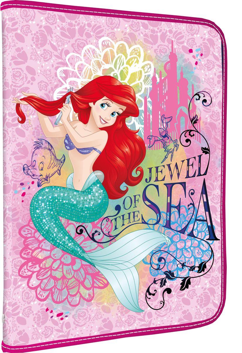 Disney Princess Папка для тетрадей Jewel of the SeaFS-54115Папка Disney Princess Jewel of the Sea формата А4 - это оптимальный способ уберечь от деформации тетради, документы, рисунки и прочие бумаги. С ней можно забыть о погнутых уголках и краях. Кроме того, теперь все необходимые бумаги и тетради будут аккуратно собраны, а не распределены по разным местам, что сократит время их поиска. Папка выполнена из полипропилена и застегивается на молнию. Внутри - откидной клапан с креплениями для школьных принадлежностей и секцией для тетрадей, рисунков и бумаг формата А4.