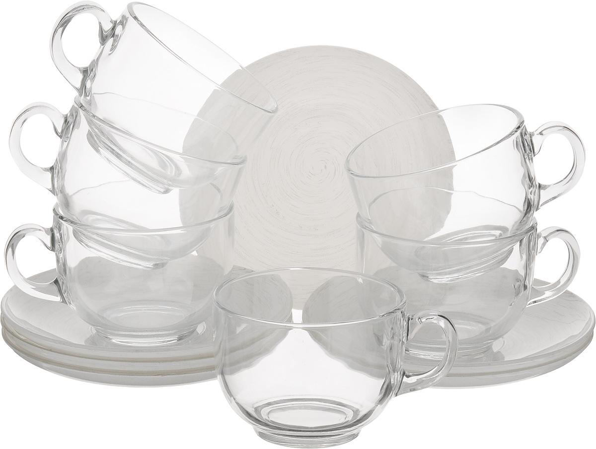 Набор чайный Luminarc Stonemania, цвет: прозрачный, белый, 12 предметов115510Чайный набор Luminarc Stonemania состоит из 6 чашек и 6 блюдец. Изделия, выполненные извысококачественного ударопрочного стекла, имеют элегантныйдизайн и классическую круглую форму. Посуда отличается прочностью,гигиеничностью и долгим сроком службы, она устойчива к появлению царапин ирезким перепадам температур. Такой набор прекрасно подойдет как для повседневного использования, так и дляпраздников. Чайный набор Luminarc Stonemania - это не только яркий и полезный подарок для родных иблизких, это также великолепное дизайнерское решение для вашей кухни илистоловой. Изделия можно мыть в посудомоечной машине и использовать в СВЧ-печи. Объем чашки: 220 мл. Диаметр чашки (по верхнему краю): 8,3 см. Высота чашки: 6,2 см.Диаметр блюдца (по верхнему краю): 14 см.Высота блюдца: 1,7 см.
