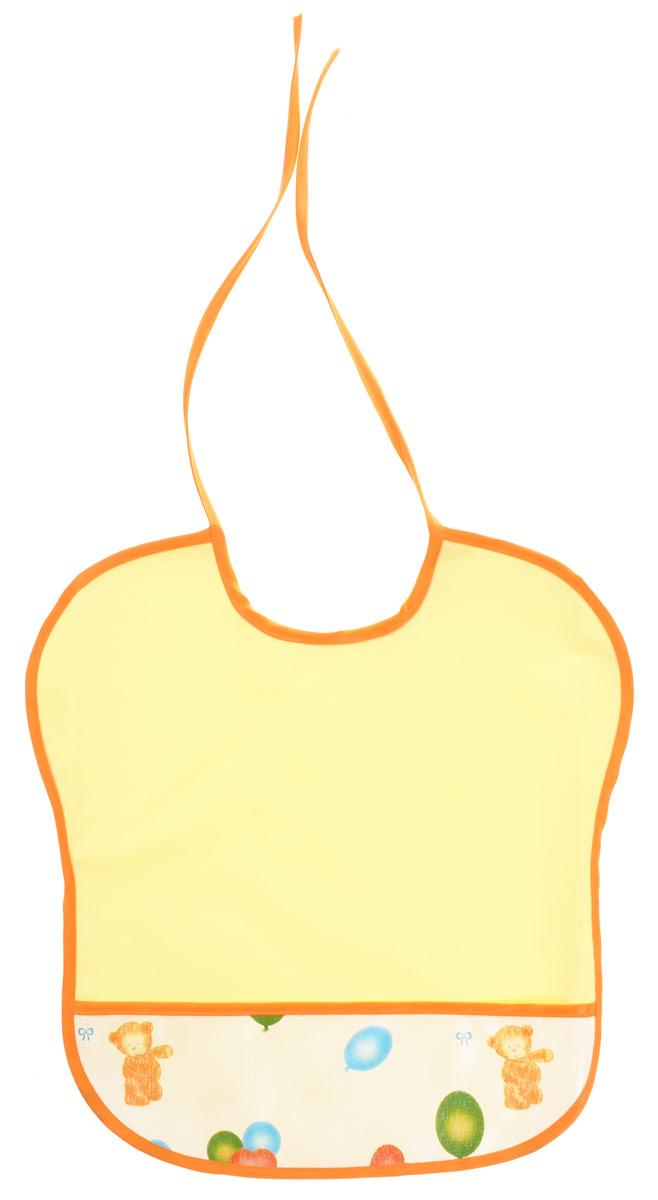 """Нагрудник """"Колорит"""" изготовлен из клеенки подкладной с ПВХ покрытием. Нагрудник оснащен удобным карманом. Предназначен для многоразового использования, не промокает, предохраняет от загрязнений во время кормления. Нагрудник на завязках - выбор практичных мамочек, пользоваться таким слюнявчиком можно более длительное время, пока ваш малыш растет, благодаря завязкам вы сможете легко контролировать длину изделия и регулировать размер горловины."""