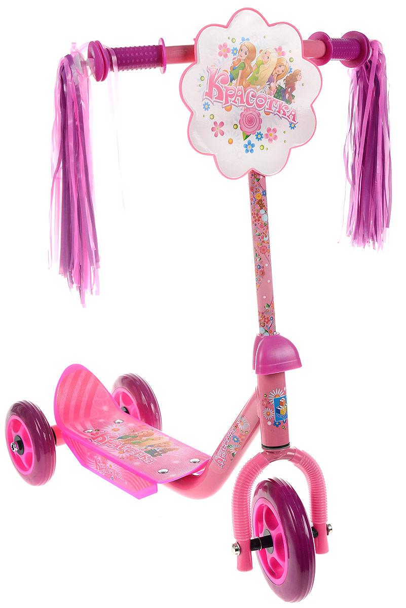 1TOY Самокат детский трехколесный Красотка цвет розовыйWRA523700Детский самокат 1TOY Красотка с забавными кисточками на ручках непременно понравится вашей принцессе.Он легкий и маневренный. Даже при постоянном использовании самокат смело прослужит несколько лет. Ручки самоката выполнены таким образом, что ребенку будет очень удобно за них держаться, и руки малышки не будут скользить. Площадка для ног снабжена противоскользящим покрытием. Колеса имеют хорошее сцепление с поверхностью и обеспечивают комфортное движение без тряски. Складная конструкция самоката облегает транспортировку и хранение самоката. Создан самокат специально для активного отдыха, чтобы ребенок имел возможность совмещать полезное времяпрепровождение и приятные физические нагрузки.